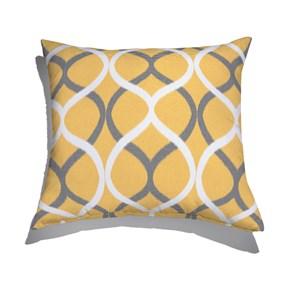 Almofada de Chão Quadrada Ikat Curvas Amarelo e Cinza