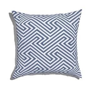 Almofada de Chão Quadrada Ikat Linhas Azul Marinho e Branco
