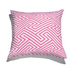 Almofada de Chão Quadrada Ikat Linhas Rosa e Branco 70x70