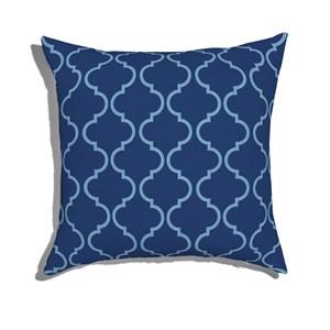 Almofada de Chão Quadrada Ikat Oriental Azul e Azul Marinho