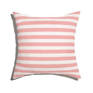 Almofada de Chão Quadrada Listras Casitas Rosa e Branco