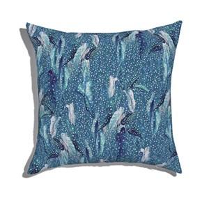 Almofada de Chão Quadrada Na mata I Azul e Azul Marinho