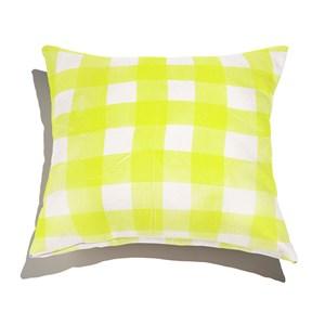 Almofada de Chão Quadrada Piquenique Amarelo e Branco 01