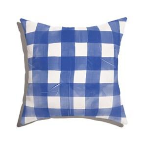 Almofada de Chão Quadrada Piquenique Azul e Branco