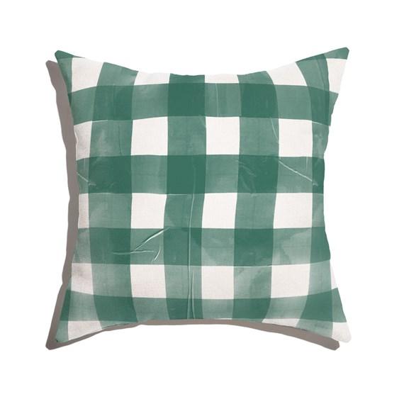 Almofada de Chão Quadrada Piquenique Verde e Branco
