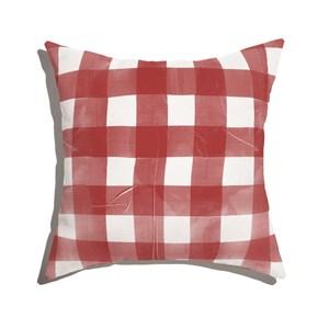 Almofada de Chão Quadrada Piquenique Vermelho e Branco