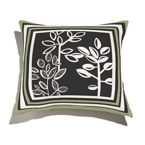 Almofada de Chão Quadrada Plantinhas Bloom I Verde e Branco