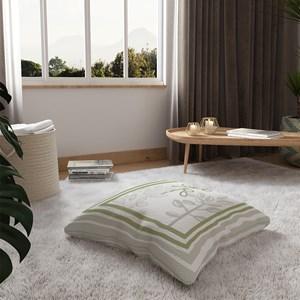 Almofada de Chão Quadrada Plantinhas Bloom I Verde e Branco I