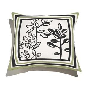 Almofada de Chão Quadrada Plantinhas Bloom I Verde e Branco II