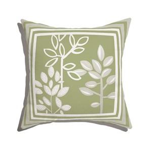 Almofada de Chão Quadrada Plantinhas Bloom I Verde e Branco III
