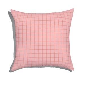 Almofada de Chão Quadrada Quadriculado Moderninho Rosa e Vermelho