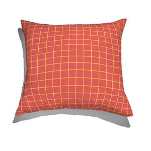 Almofada de Chão Quadrada Quadriculado Moderninho Vermelho e Amarelo