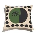 Almofada de Chão Quadrada Rostinhos III Verde e Preto
