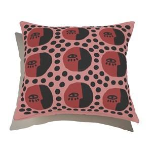 Almofada de Chão Quadrada Rostinhos Pattern Rosa e Vermelho