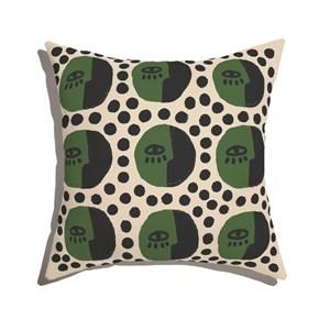Almofada de Chão Quadrada Rostinhos Pattern Verde e Preto