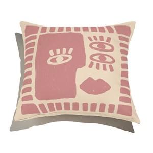 Almofada de Chão Quadrada Rostinhos Rosa