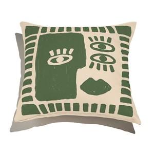 Almofada de Chão Quadrada Rostinhos Verde