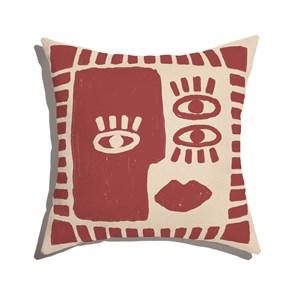 Almofada de Chão Quadrada Rostinhos Vermelho