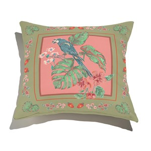Almofada de Chão Quadrado Arara com Bordas Verde e Rosa