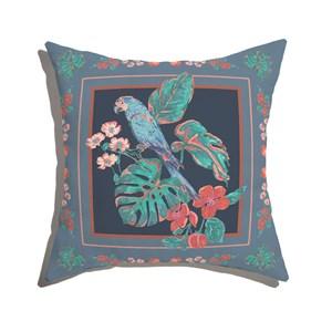 Almofada de Chão Quadrado Flor de Arara Verde e Rosa