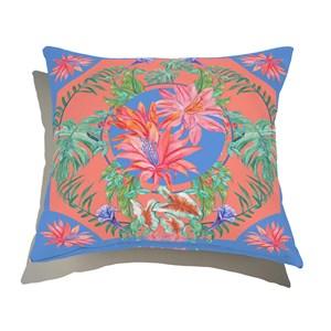 Almofada de Chão Quadrado Tropicana Floral I Azul e Rosa