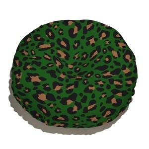 Almofada de Chão Redonda Amor Selvagem Verde e Preto
