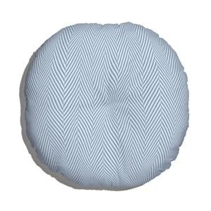 Almofada de Chão Redonda Chevron Tecido Azul e Azul Marinho