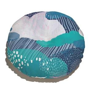 Almofada de Chão Redonda Chuva Azul Marinho e Azul