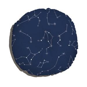 Almofada de Chão Redonda Constelações Azul Marinho e Branco