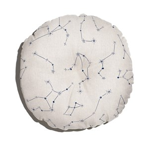 Almofada de Chão Redonda Constelações Branco e Azul Marinho