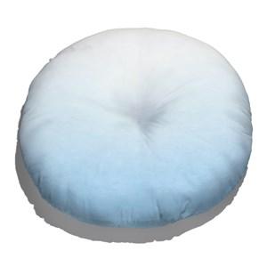 Almofada de Chão Redonda Degradê Trinchado Azul e Branco
