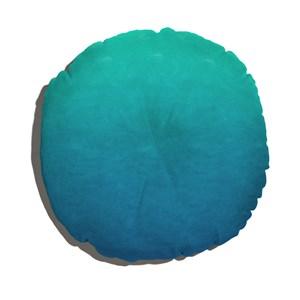 Almofada de Chão Redonda Degradê Trinchado Azul e Verde