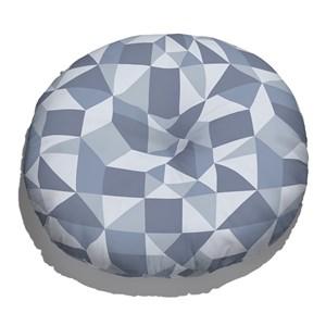 Almofada de Chão Redonda Estampinha Azul e Cinza