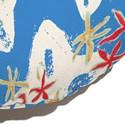 Almofada de Chão Redonda Estrelas do Mar Branco e Azul