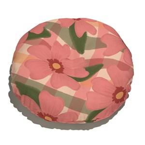 Almofada de Chão Redonda Floral Pattern Vermelho e Verde