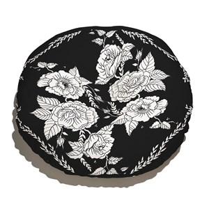 Almofada de Chão Redonda Flores Pretas Branco e Preto