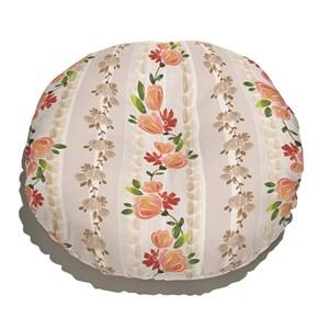 Almofada de Chão Redonda Flores Vintage I Bege e Rosa