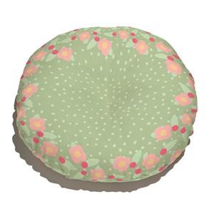Almofada de Chão Redonda Florzinha da Onça Verde e Rosa