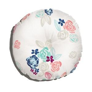 Almofada de Chão Redonda Florzitas Rosa e Branco