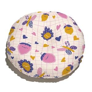 Almofada de Chão Redonda Flower Power I Amarelo e Rosa