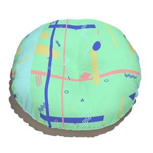 Almofada de Chão Redonda Geométrico do Mar Amarelo e Azul