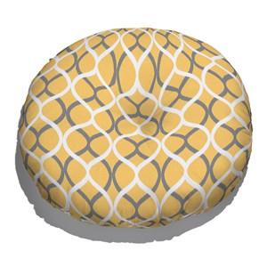 Almofada de Chão Redonda Ikat Curvas Amarelo e Cinza