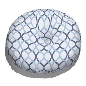 Almofada de Chão Redonda Ikat Curvas Azul e Azul Marinho