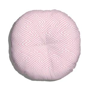 Almofada de Chão Redonda Ikat Linhas Branco e Rosa