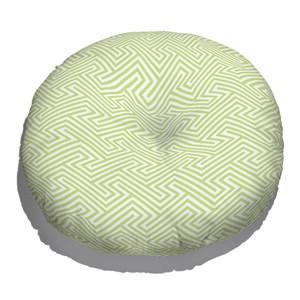 Almofada de Chão Redonda Ikat Linhas Verde e Branco