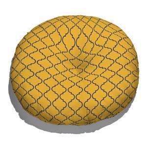 Almofada de Chão Redonda Ikat Oriental Amarelo e Azul Marinho