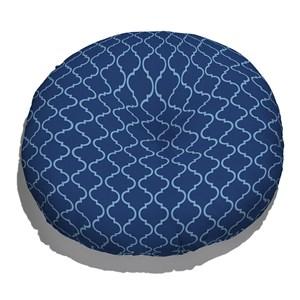 Almofada de Chão Redonda Ikat Oriental Azul e Azul Marinho