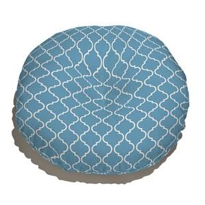 Almofada de Chão Redonda Ikat Oriental Azul e Branco