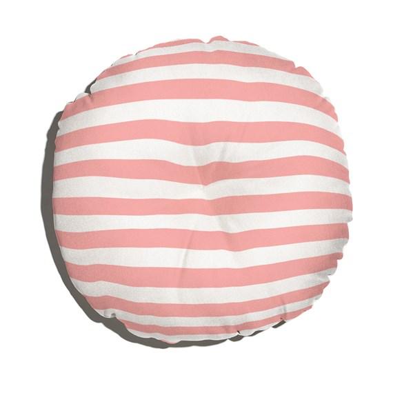 Almofada de Chão Redonda Listras Casitas Rosa e Branco