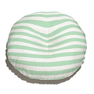 Almofada de Chão Redonda Listras Casitas Verde e Branco